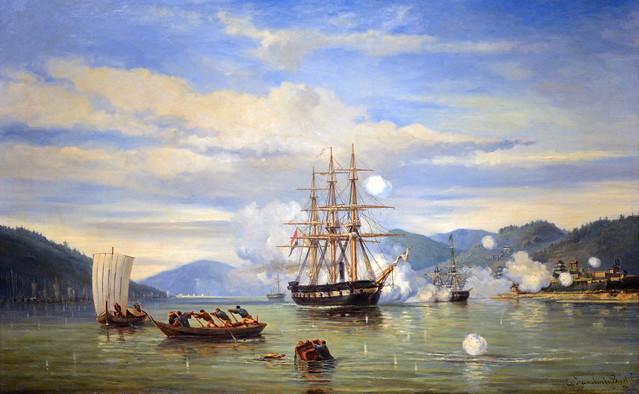HNLMS Steam Warship Medusa Forcing Passage through the Shimonoseki Strait, Jonkheer Jacob Eduard van Heemskerck van Beest (1824-1894)