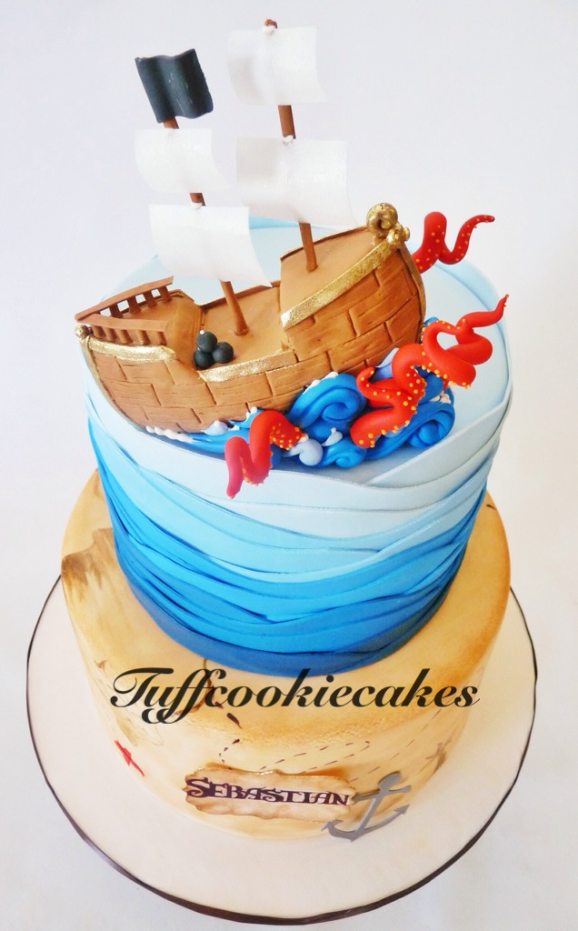 Amazing Pirate Themed Birthday Cake Loved Making The Cute Gumpast Flickr Birthday Cards Printable Nowaargucafe Filternl