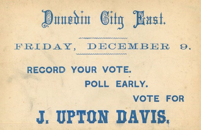 Voting Card for J Upton Davis Dunedin City East