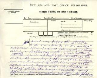 Waihi Strike Telegrams from Police Commissioner John Cullen, 10 November 1912 (2 of 3)
