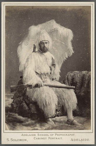 Cabinet card of a man dressed as Robinson Crusoe, 1888 | by State Library of South Australia