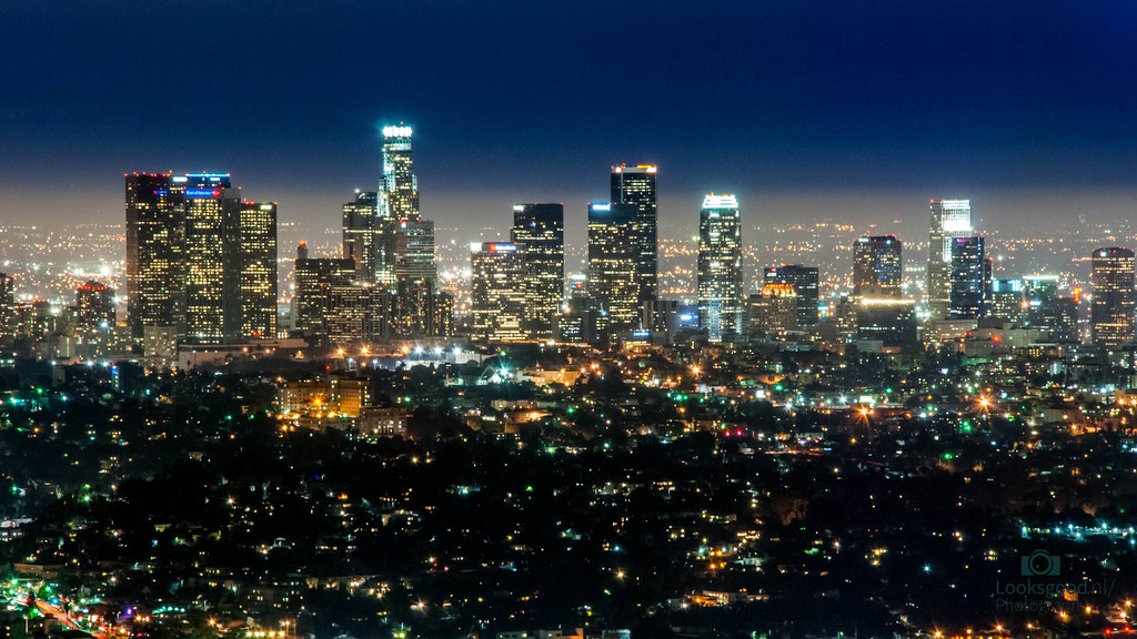 Los Angeles Skyline At Night 4k Wallpaper Desktop Backgr