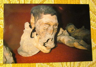 "Mexico Guanajuato 'vintage' 1994 photo of displays in the Mummy Museum - ""Accidental Mummies"" 