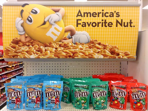"""M&M's"" America's Favorite Nut 6/2014 ""M&M's"" End Cap Display Target Stores. Pics by Mike Mozart of TheToyChannel and JeepersMedia on YouTube. #MandM #M&Ms #MandMYellow #TargetStores #Target 