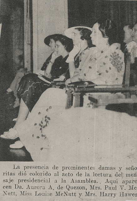 First Lady and other official spouses listen to the Third State of the Nation Address of President Manuel L. Quezon