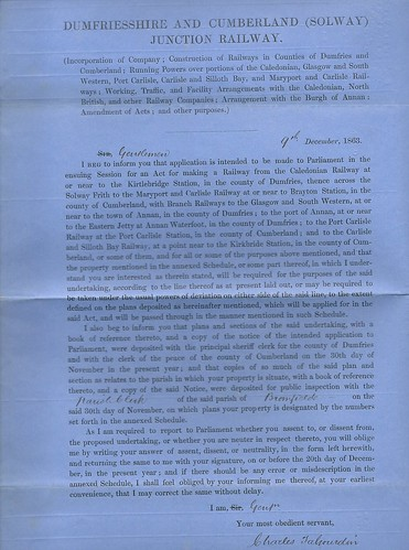 Dumfriesshire and Cumberland (Solway) Junction Railway Notice to Treat 1863   by ian.dinmore