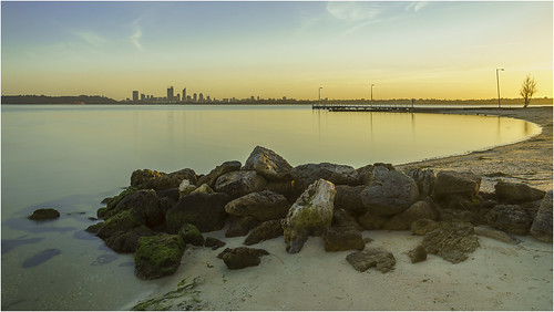 city longexposure light water skyline sunrise river landscape dawn scenery rocks cityscape sony scenic alpha westernaustralia swanriver daybreak carlzeiss applecross nd400 neutraldensity a99 cityofperth sal1635z slta99 stevekphotography