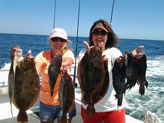 Photo of two women with a nice group of flounder they caught on a charter