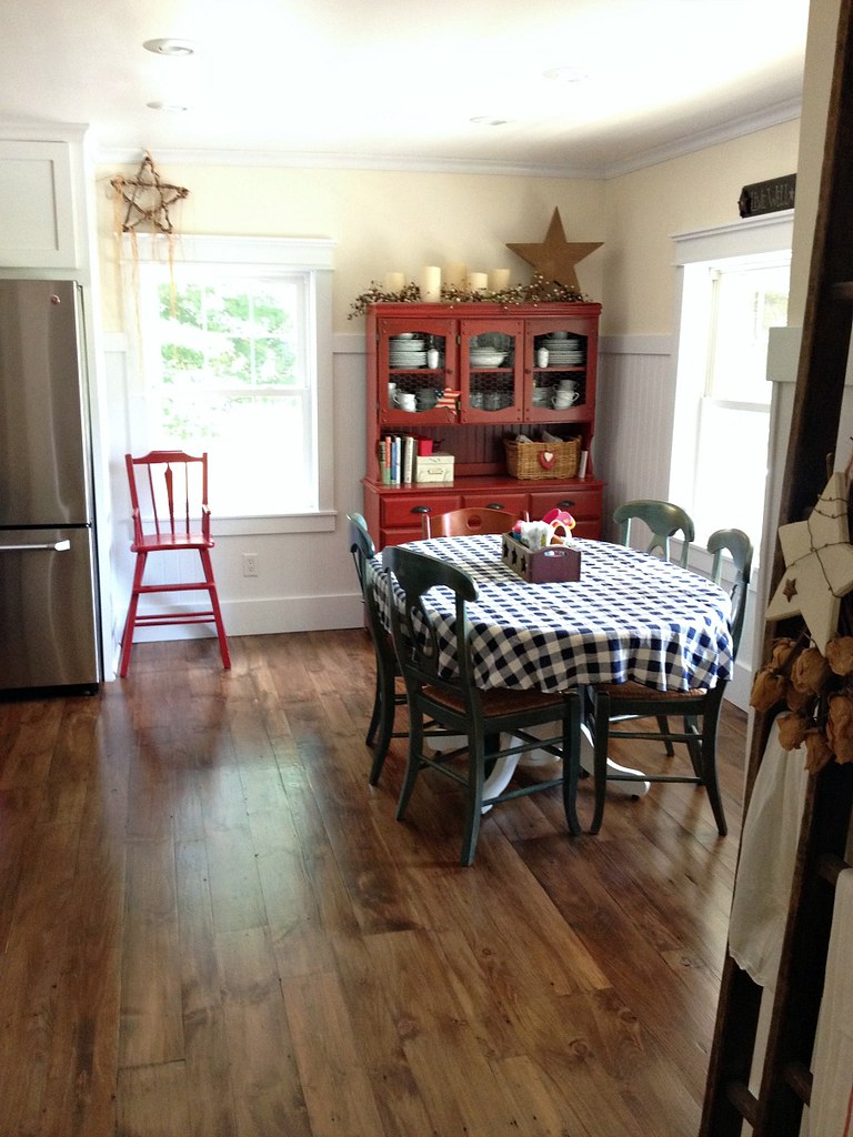 red hutch and high chair