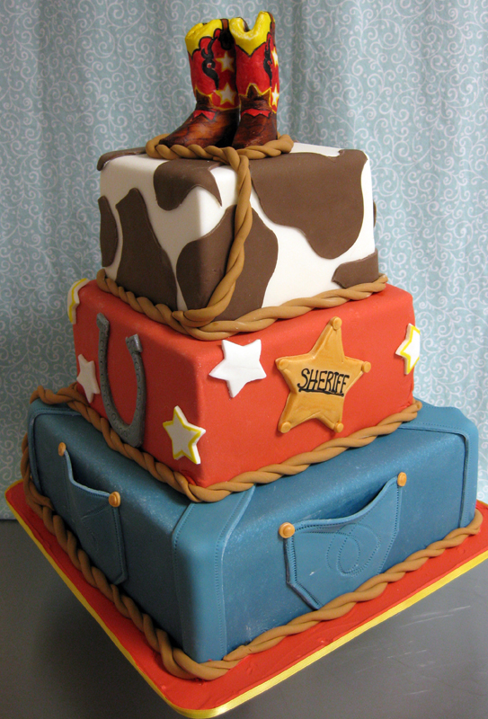 Astounding Cowboy Birthday Cake Kids Cowboy Boots Lasso Cow Hide Flickr Funny Birthday Cards Online Aboleapandamsfinfo