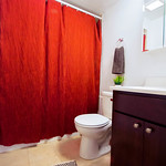 Cherry cabinets are the cherry on top of this Edison Park bathroom.