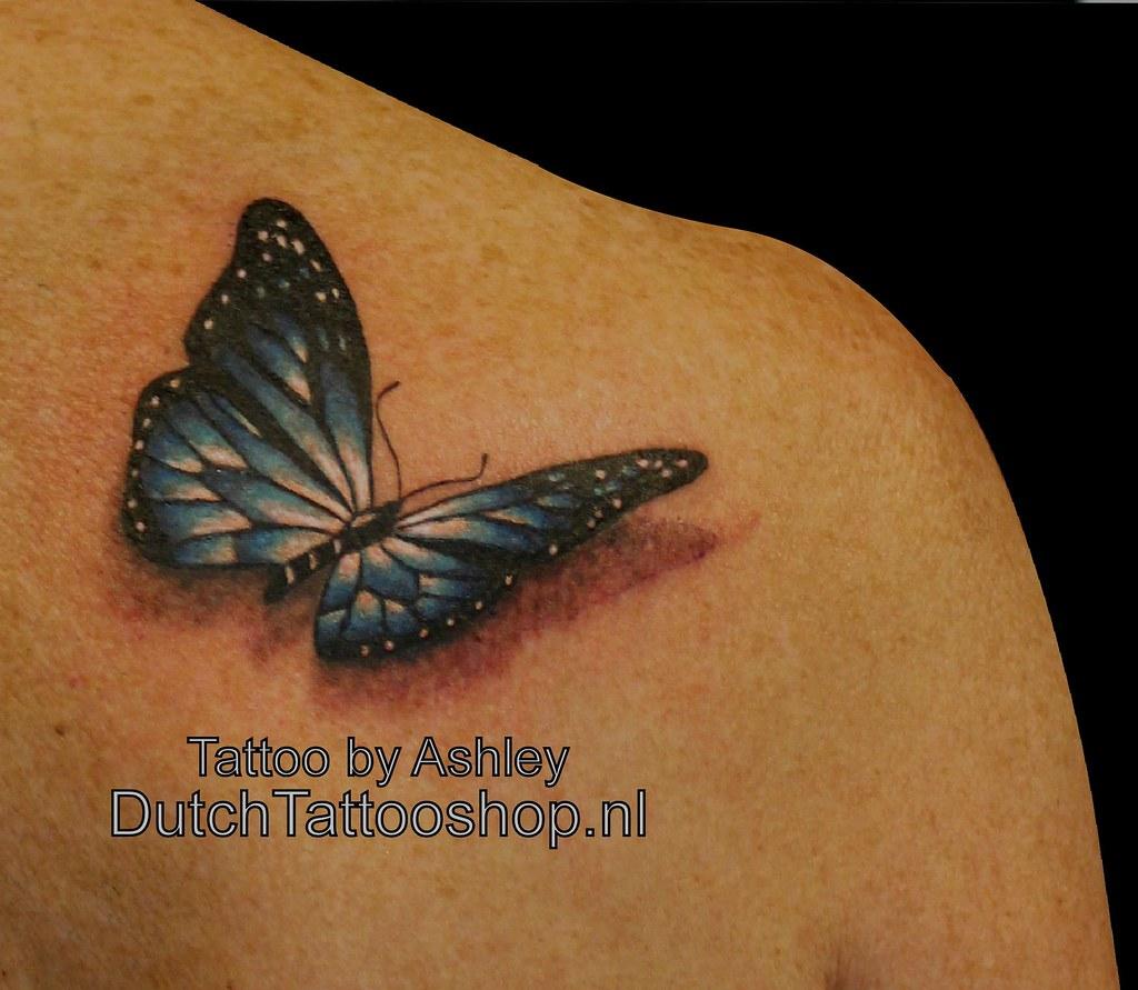 Schouder Shoulder Tattoo Vlinder Butterfly 3d Dutch Tattoo
