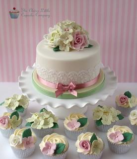 Astonishing Rose And Hydrangea 90Th Birthday Cake Rich Fruit Cake Wit Flickr Funny Birthday Cards Online Elaedamsfinfo