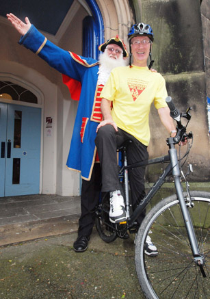 Shropshire Ride+Stride county co-organiser, Roger Hughes with  Shrewsbury Town Crier, Martin Wood