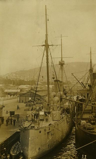 HMS Pyramus August 1914, Princes Wharf, Hobart - Archives New Zealand Te Rua Mahara o te Kāwanatanga