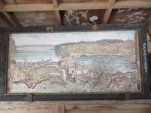 wood seascape painting landscape shrine shinto sumiyoshi kyushu jingu oitaken hiji