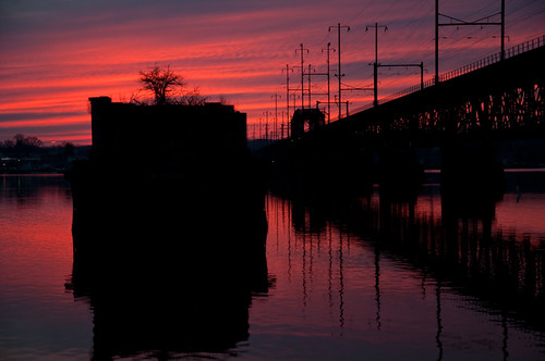 bridge sunset reflection river photography photo george colorful cloudy piers maryland decor overhead susquehanna catenary hamlin perryville