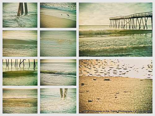 ocean morning collage sunrise vintage pier seaside surf waves lofi northcarolina retro atlantic shore 13 wrightsvillebeach shorebirds oceanic hss