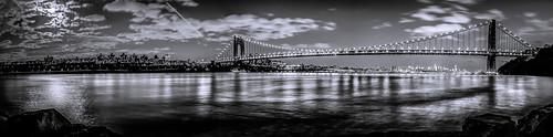 new york city bridge panorama white ny black night long exposure panoramic gwb lightroom