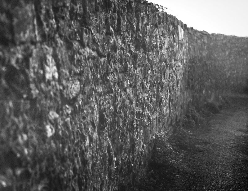 Tuscan wall, stone, pathway, Cortona, Tuscany, Italy, Mamiya 645 Pro, Mamiya Sekkor 80mm, Fomapan 200, R5 Monobath Developer (underexposed and pushed), early January 2017