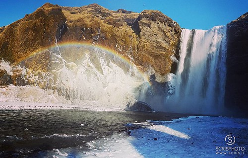 Skógafoss Waterfall with rainbow (Iceland)  http://facebook.com/scrisphoto http://scrisphoto.com http://youtube.com/user/scrisify  #Skógafoss #waterfall #rainbow #iceland #water #jump #colors #landscape #panorama #nature #drops | by ScriS - www.scris.it
