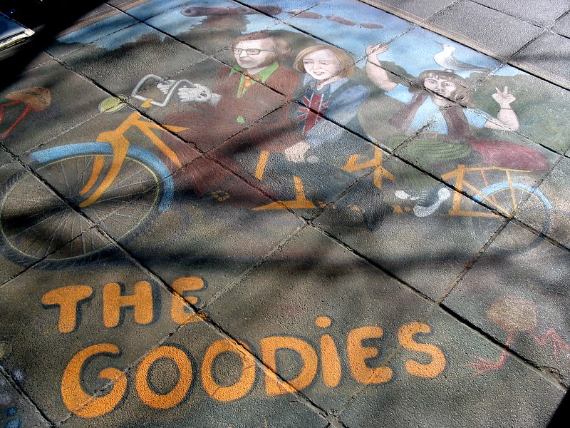 The Goodies, chalk art at Melbourne Southbank, July 2004
