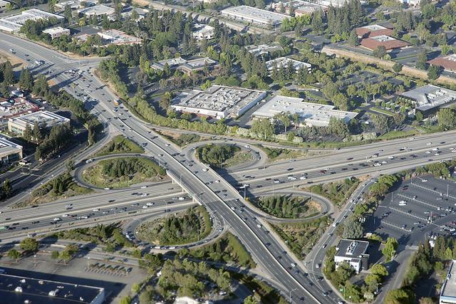 Early morning traffic—Highway 101 and San Tomas Expressway, Santa Clara, California