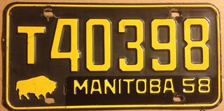 MANITOBA 1958--- TRUCK PLATE  REAR PLATE DATED