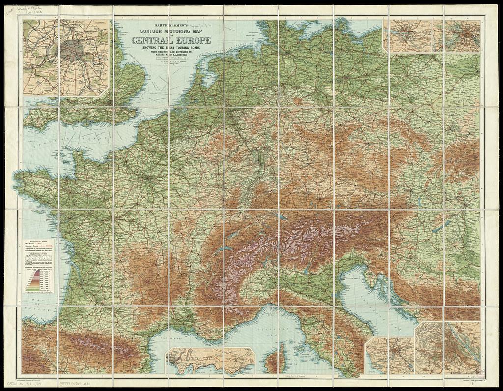 Bartholomew\'s contour motoring map of Central Europe showi ...
