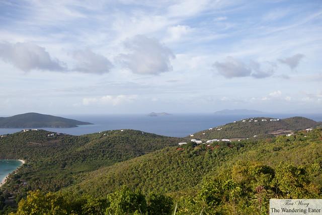 View of islands Hans Lollick (left), Little Tobago (British VI), and Jost Van Dyke (British VI)