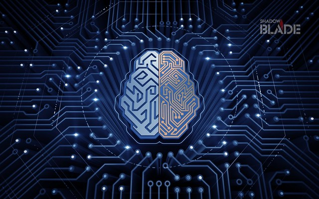 Cybernetic Brain. Electronic chip in form of human brain in electronic cyberspace. Illustration on the subject of 'Artificial Intelligence'.