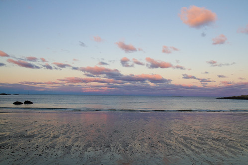 beach sunset bay reflection water saltwater wet lowtide calm peace peaceful ocean sea coast rocky coastline seashore shore blue purple pink cloud clouds evening twilight