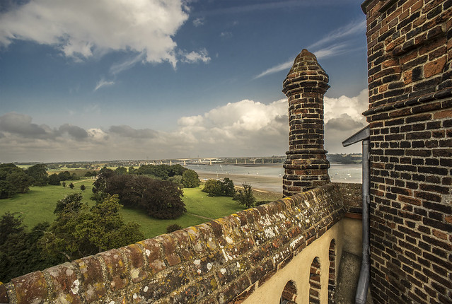 View towards Orwell Bridge & Ipswich from Freston Tower, Suffolk