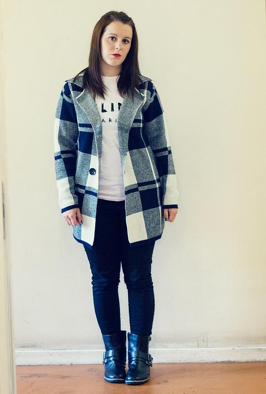 Tartan coatigan outfit