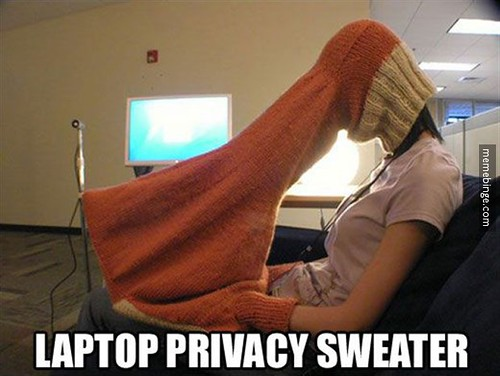 Laptop privacy with sweater. | by memebinge