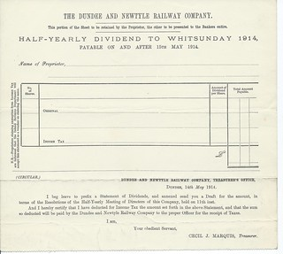 Dundee and Newtyle Railway blank Dividend form 1914 1 | by ian.dinmore