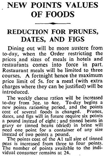 1st June 1942 - Rationing : New points values of foods | by Bradford Timeline