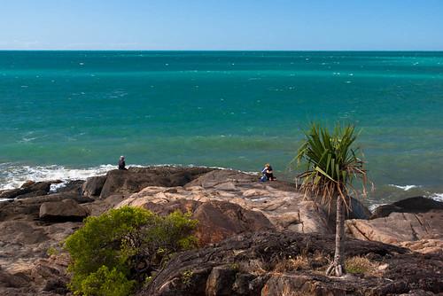 trees sea sky people water clouds palms fishing rocks queensland portdouglas austraila