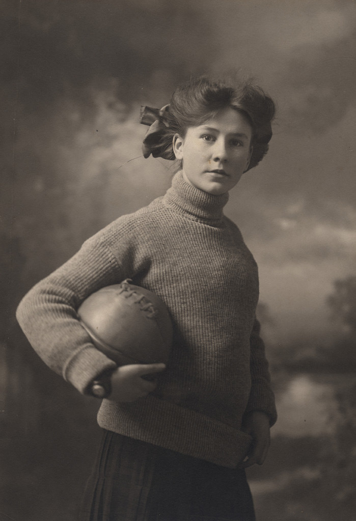 Portrait of Florence Sallows holding basketball, date unknown