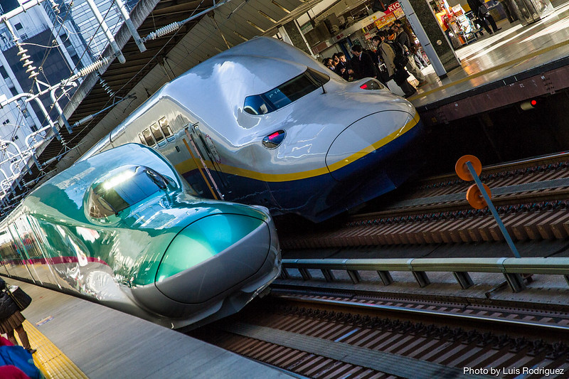 Serie E5 de shinkansen entrando en la estación de Tokio junto a un E4