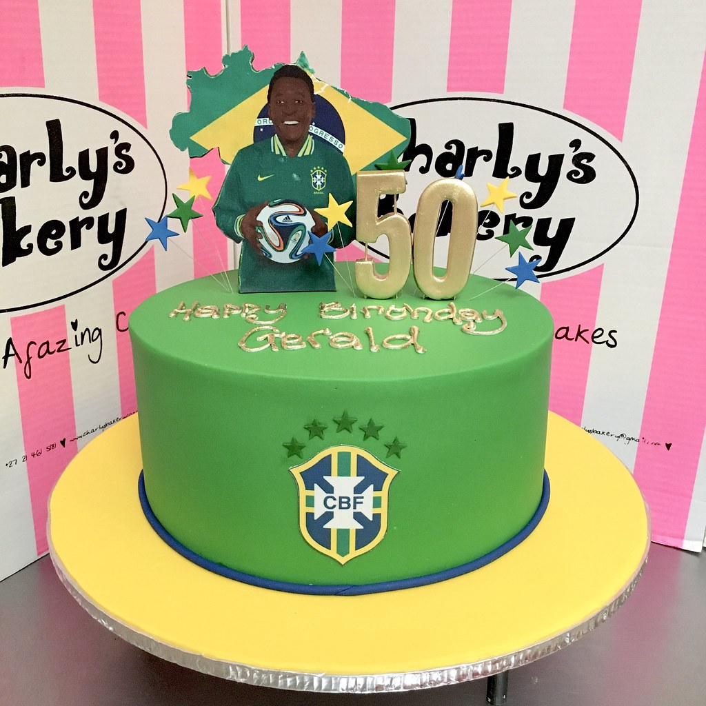Single Tier Brazil Football Themed 50th Birthday Cake Covered In Green Fondant With Personalised 2D
