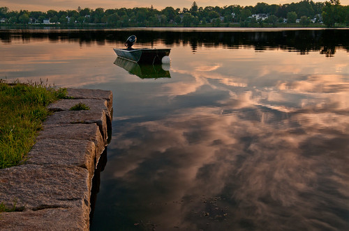 morning light summer clouds sunrise reflections boats massachusetts wakefield lakequannapowitt