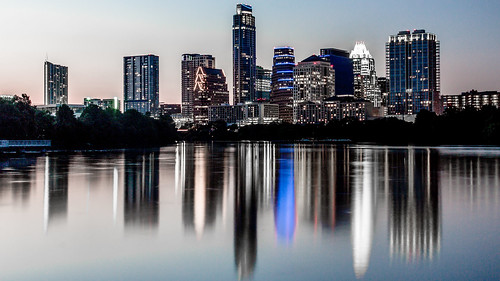 longexposure pink blue sunset water skyline night austin reflections lights twilight cityscape texas dusk clear boardwalk townlake austintx atx ladybirdlake