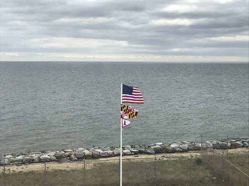 Photo of flagpole at Point Lookout, overlooking Chesapeake Bay