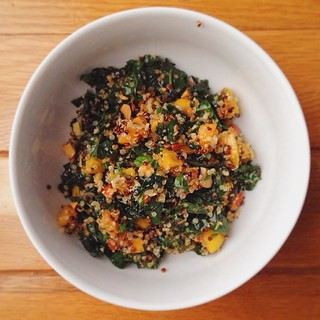 Crispy quinoa salad with kale and apricots was a success. #vegan #vscocam | by PrincessPeach