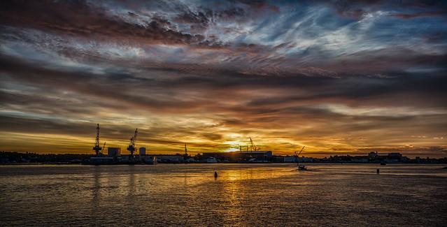 Portsmouth Naval Shipyard at Sunrise