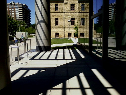 Shadows on terrace, Board of Education building, Calgary | by Jon Dev