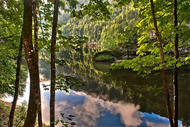 Reflections on the Lac de Moron, the Doubs River in summer. Reflets sur le Lac de Moron, le Doubs en été.No. 5955.