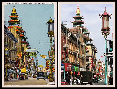 postcard & photo - Grant Avenue, Chinatown Then & Now