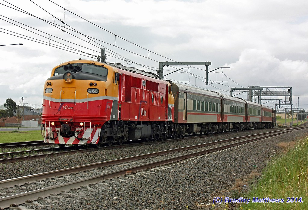 A66-N9-BCZ257-PH454 with #8322 up Shepparton pass on ICE radio testing at Dallas (18/9/2014) by Bradley Matthews